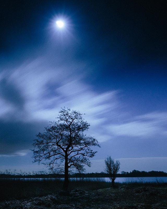 In de blauwe nacht, drijven wolken voort.